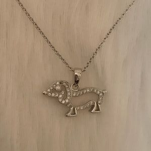 Silver Dog Diamond Necklace 🐕